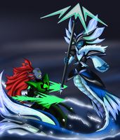 Monofell Undyne vs Abysstale Undyne the undying by Meta-Kaz