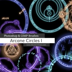 Arcane Circles-Symbols Photoshop and GIMP Brushes by redheadstock