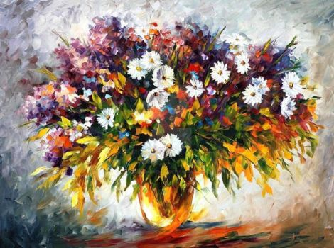 Lilac And Chamomiles by Leonid Afremov by Leonidafremov