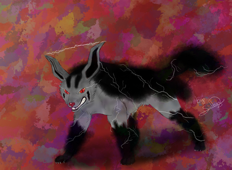 Pokemon Day 5 - Mightyena as lighting type by Suthay