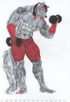 Unfinished Commission: Dumbbell Training by Bursti by MoonlightStrider