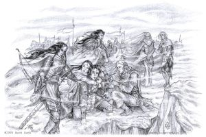 The Crossing of Helcaraxe b/w by aautio
