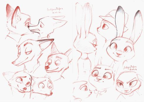 Judy and Nick sketch by SatynaPaper