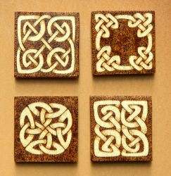 Celtic Knots wooden fridge magnets set of four by YANKA-arts-n-crafts