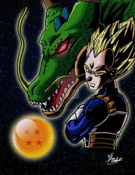 Commission - Vegeta and Shenron by TriBlurr