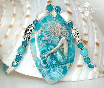 Windsong handpainted mermaid necklace close up by Mocten