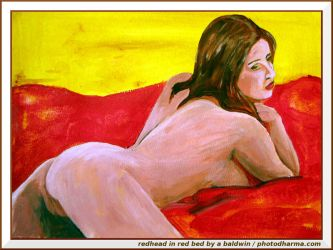redhead in a red bed by abaldwin