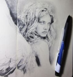 Angel drawing in progress by Artist-AbigailMarie