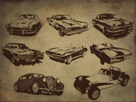 Retro style car Brushes by designstub