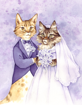 Wedding Cats by littlecrow