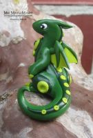 Green and Lime Polymer Clay Dragon by MiniMythicalMonsters
