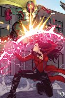 The Vision vs Scarlet Witch by ChickenzPunk