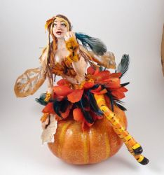 Harvest poet polymer clay fairy sculpture by queenelf