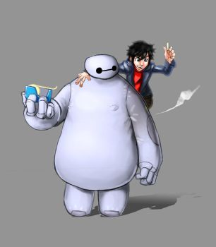 #006 Baymax and Hiro by fuad-mddin