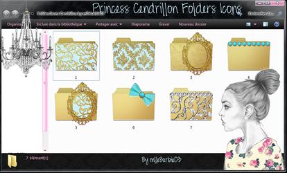 Princess Cendrillon Folders Icons by mllebarbie03