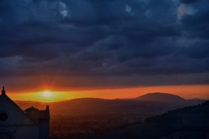 Sunset in Assisi next to Basilica of St. Francis by oanaunciuleanu