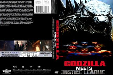 Godzilla meets the Justice League DVD cover by SteveIrwinFan96