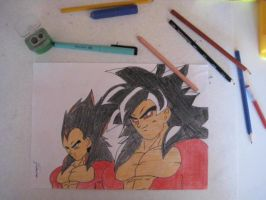 Vegeta and Goku SSj4 by Andrix1995