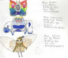 Mega Vivillon, Crabominable, and Ribombee