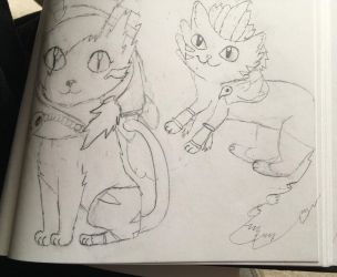 Xayah and Rakan kitties!! by ZombieCharmanderGirl