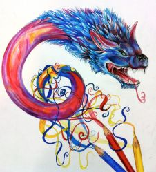 Dragon From Color Pencils by Lucky978