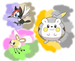 Pikipek, Togedemaru and Cutiefly by QuestionUnicorn