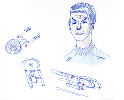 Spock and Enterprises Sketch by AdamTSC