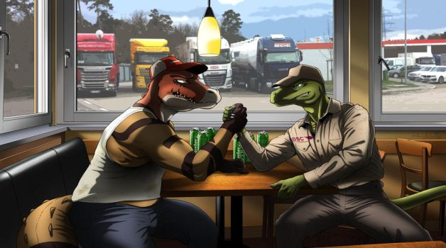 Armwrestling by ReptileCynrik