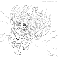 The Winged Lion ::Open Lineart:: by YamPuff
