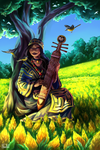 Ainu Woman with Wagtails by Yseulta