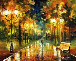 Autumn stroll by Leonid Afremov by Leonidafremov