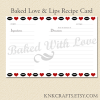Baked with Love and Lips Recipe Card by Niongi
