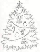 Christmas Tree Pen and Ink by JesseAllshouse