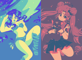 Color Palette Challenges: Sailor Moon and Lum by QueenAshi