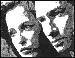 Scully and Mulder - ink by breadzilla