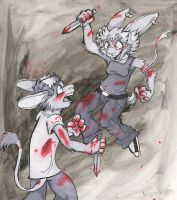 Knife Fight by booboobunnygirl