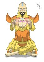 Tenzen Hypnotizing Aang. Commsioned By Anonymous by BrynHexx