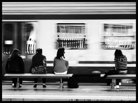 Waiting for the train by francisblues