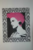 Stencil indoors canvas by Gize-dk