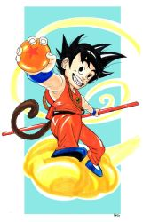 Kid Goku on the flying nimbus by amtaylor12