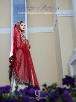 Typical Deep Red Wedding Dress of Pakistani Bride by UsmanJamshed