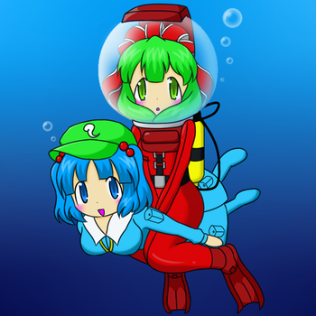 Nitori and Hina in scuba suit 2 by Nekomi4