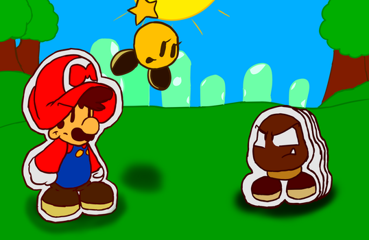 Starlow helping Paper Mario by RobloxandMario