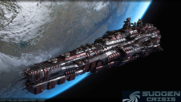 'Lung Foress' Doomstar Class Warship by Vattalus