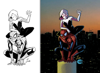 Spiderman and Spider Gwen B4 and After color by criv215
