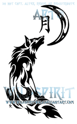 Howling Wolf And Moon Tribal Design by WildSpiritWolf