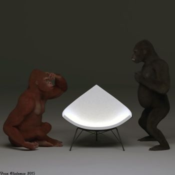 2 Gorillas And A  Coconut (Chair) by Shango-ThunderStones