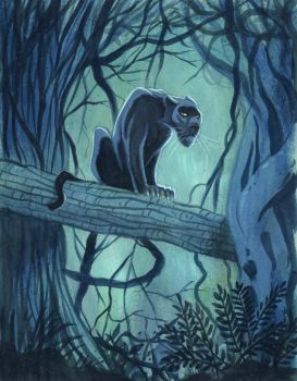 Panther Gouache Painting by timshinn73