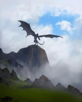 Dragon on cliff by Lionsketch