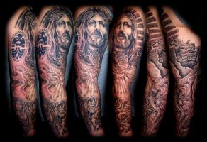 Religious sleeve by WildThingsTattoo